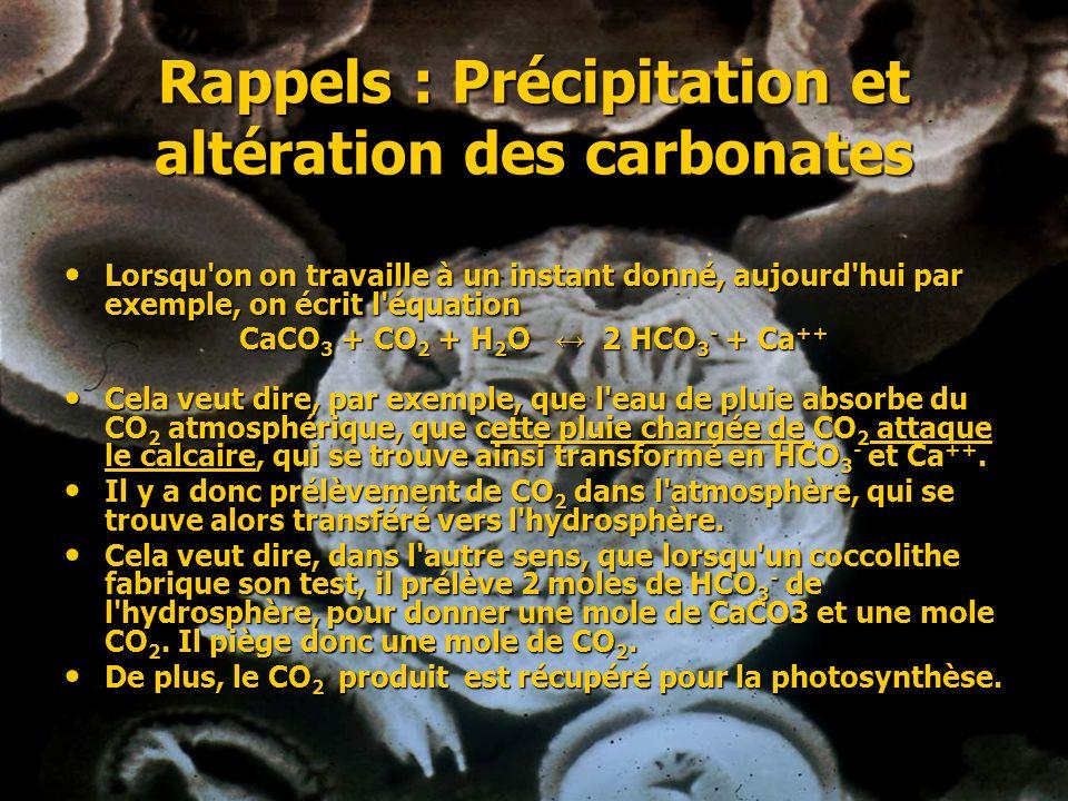 Rappels : Précipitation et altération des carbonates