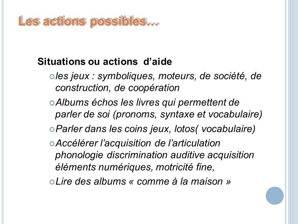 Les actions possibles…