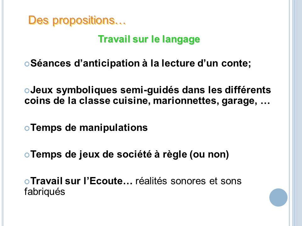 Des propositions… Travail sur le langage