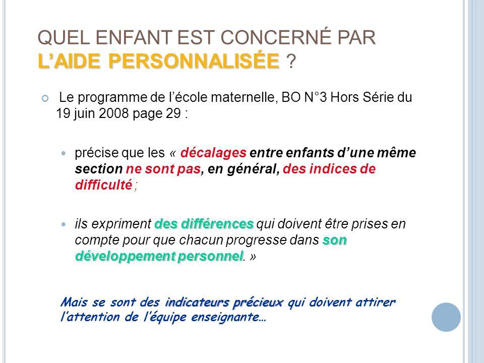 QUEL ENFANT EST CONCERNÉ PAR L'AIDE PERSONNALISÉE