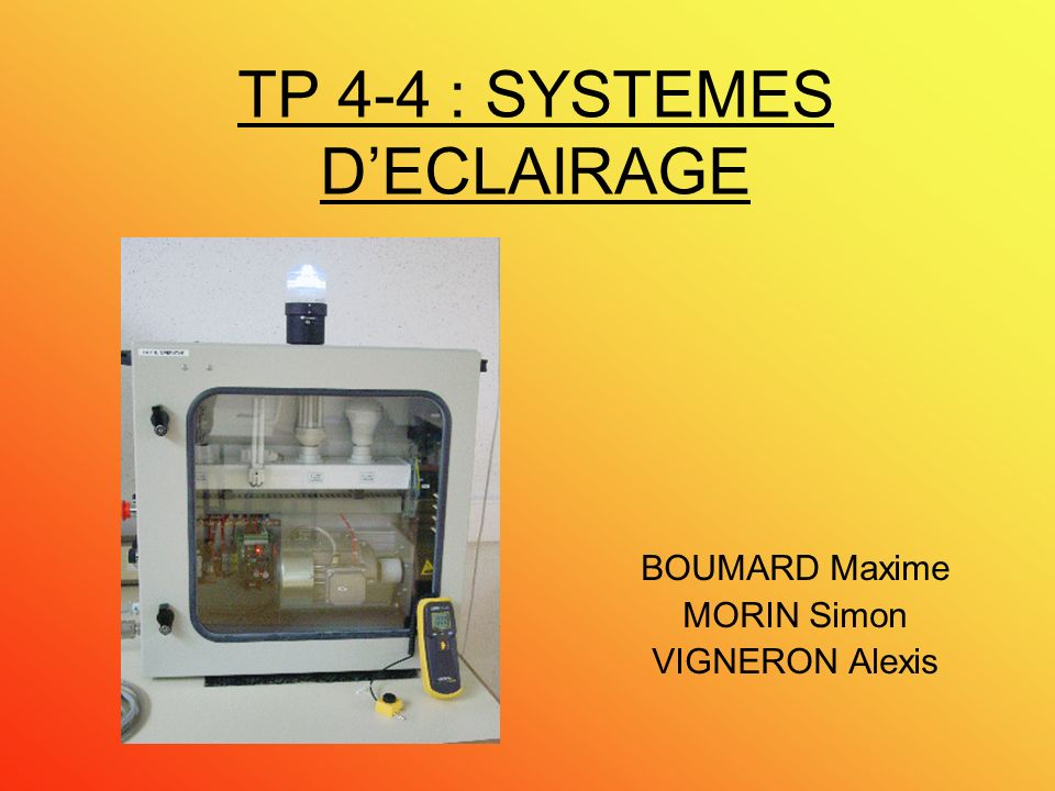 TP 4-4 : SYSTEMES D'ECLAIRAGE