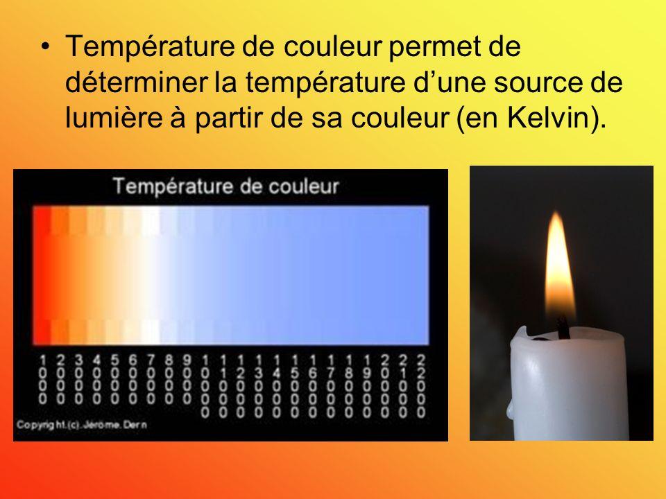 Température de couleur permet de déterminer la température d'une source de lumière à partir de sa couleur (en Kelvin).
