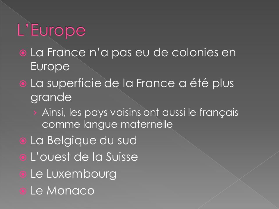 L'Europe La France n'a pas eu de colonies en Europe
