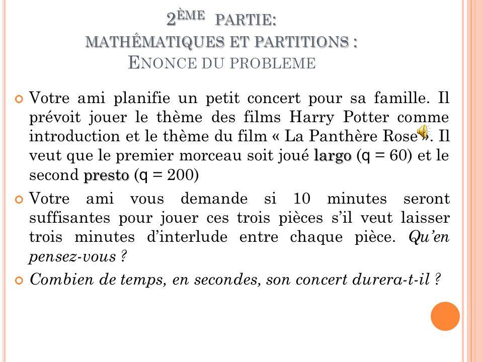 2ème partie: mathématiques et partitions : Enonce du probleme