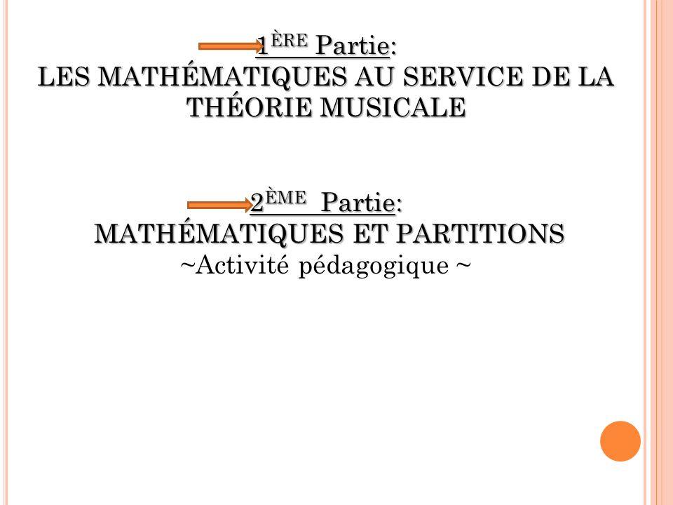1ÈRE Partie: LES MATHÉMATIQUES AU SERVICE DE LA THÉORIE MUSICALE
