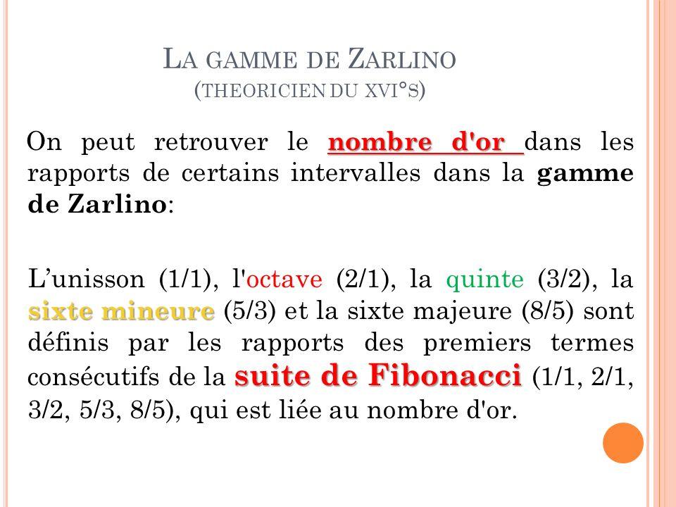 La gamme de Zarlino (theoricien du xvi°s)
