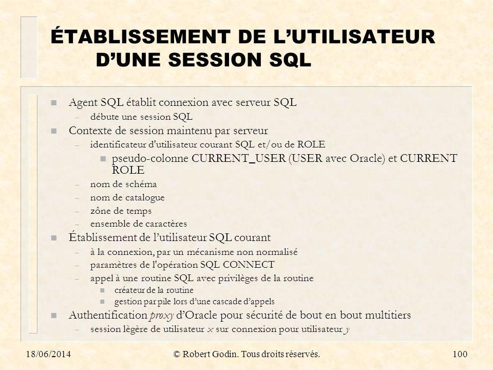 ÉTABLISSEMENT DE L'UTILISATEUR D'UNE SESSION SQL