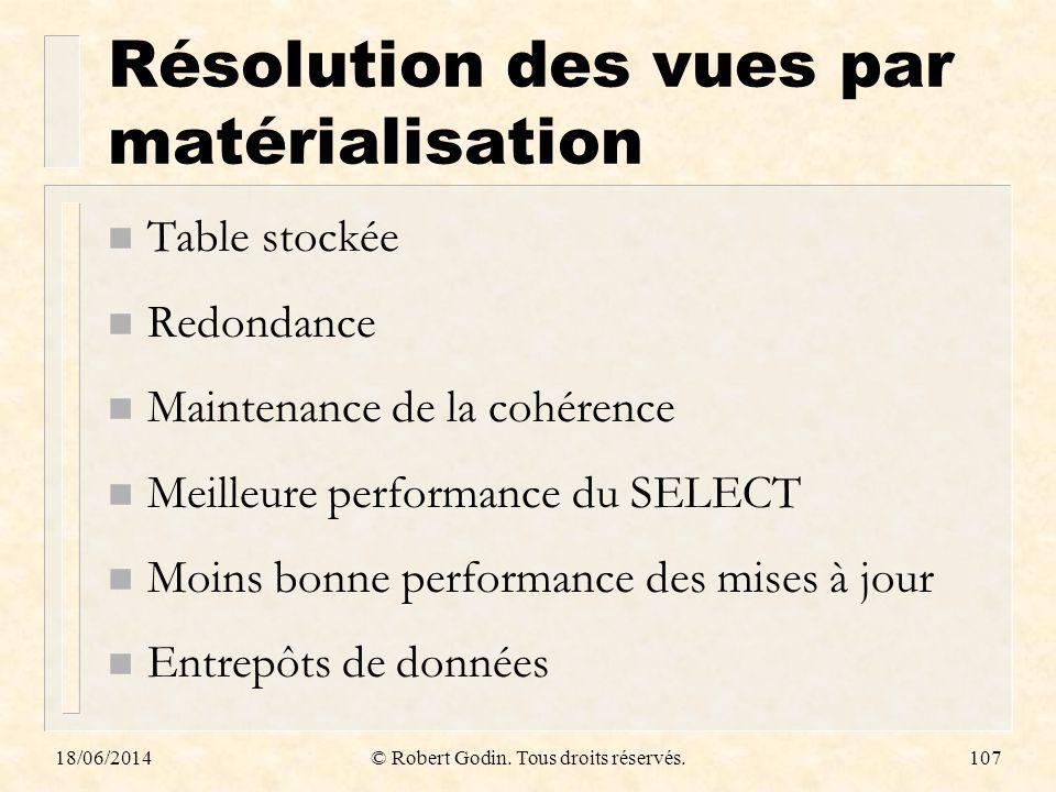 Résolution des vues par matérialisation