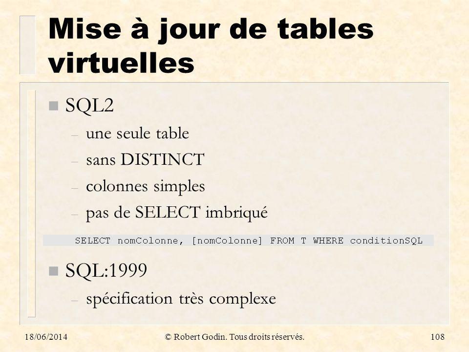 Mise à jour de tables virtuelles