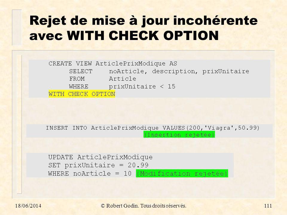 Rejet de mise à jour incohérente avec WITH CHECK OPTION