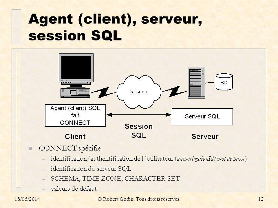 Agent (client), serveur, session SQL