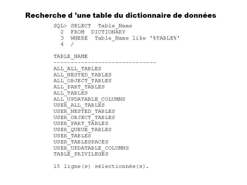 Recherche d 'une table du dictionnaire de données