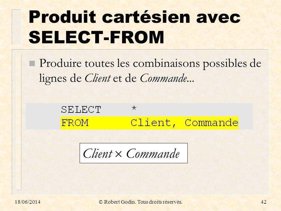 Produit cartésien avec SELECT-FROM