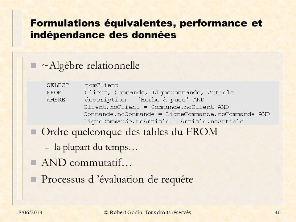 Formulations équivalentes, performance et indépendance des données