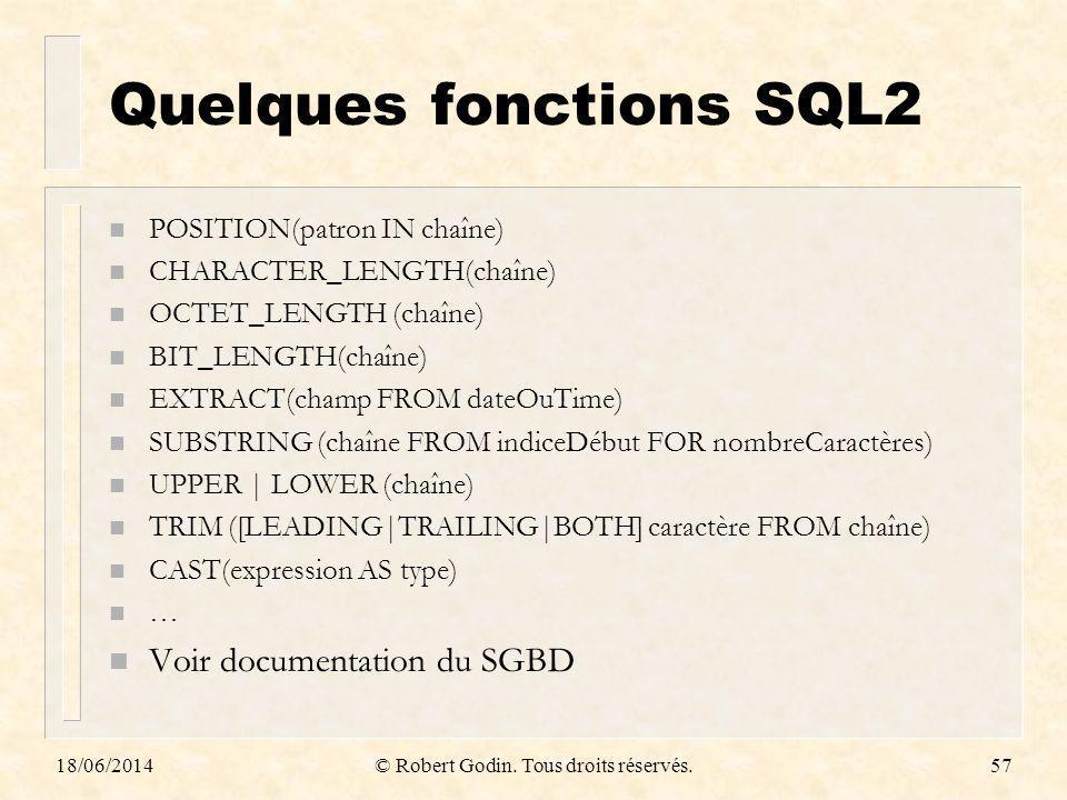 Quelques fonctions SQL2