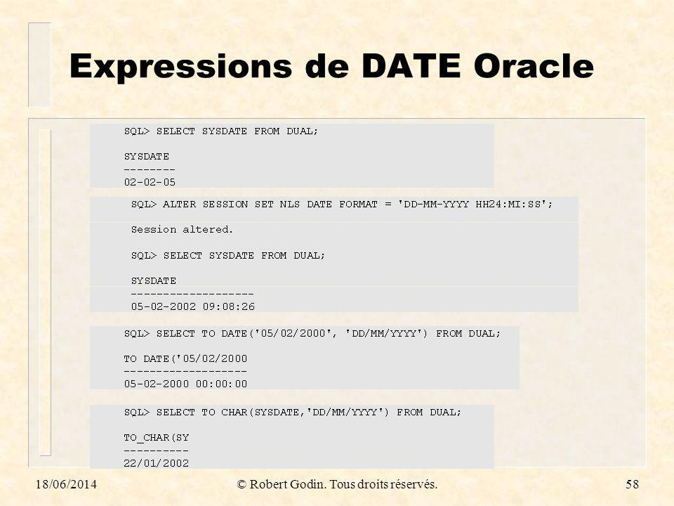 Expressions de DATE Oracle