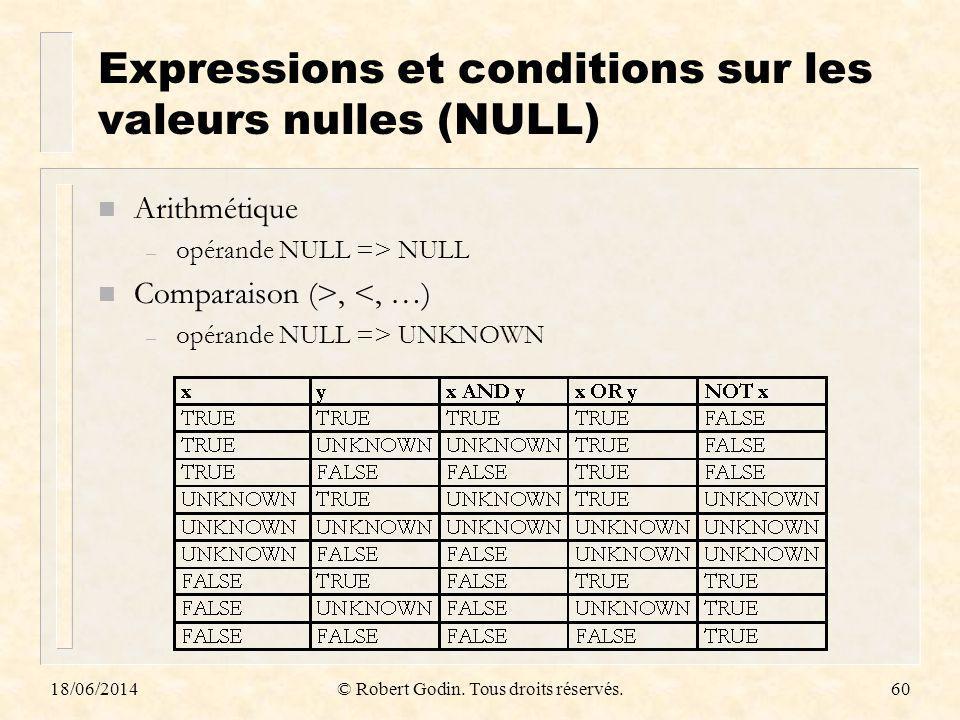 Expressions et conditions sur les valeurs nulles (NULL)