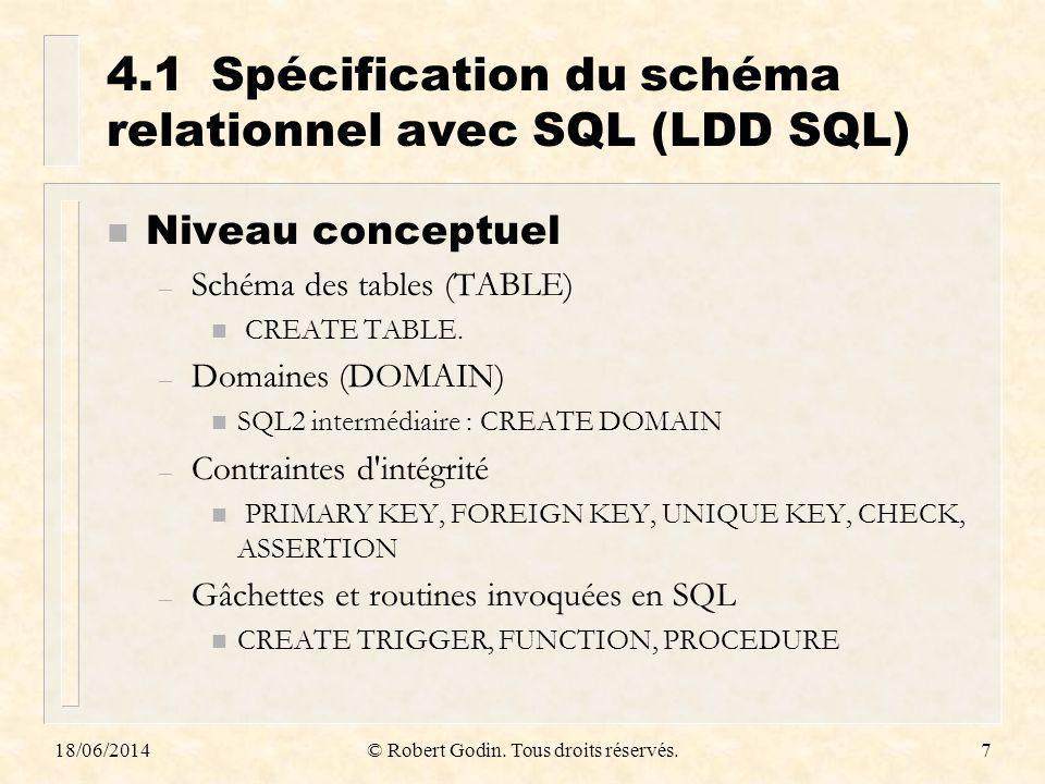4.1 Spécification du schéma relationnel avec SQL (LDD SQL)