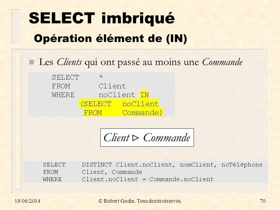 SELECT imbriqué Opération élément de (IN)