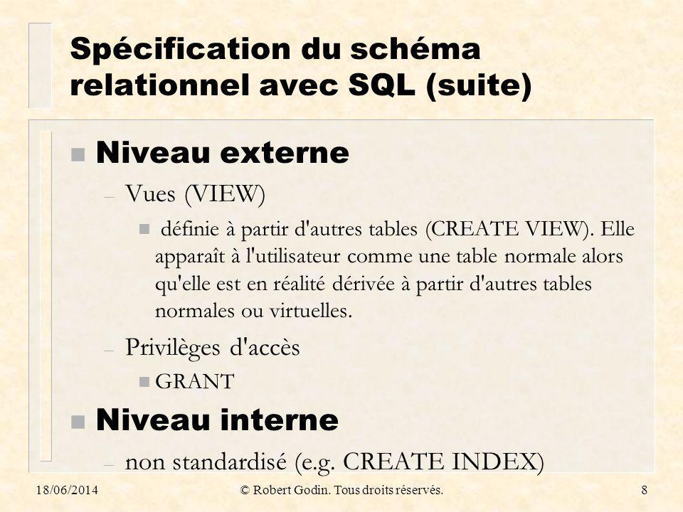 Spécification du schéma relationnel avec SQL (suite)