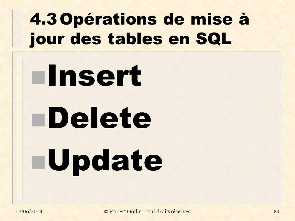 4.3 Opérations de mise à jour des tables en SQL