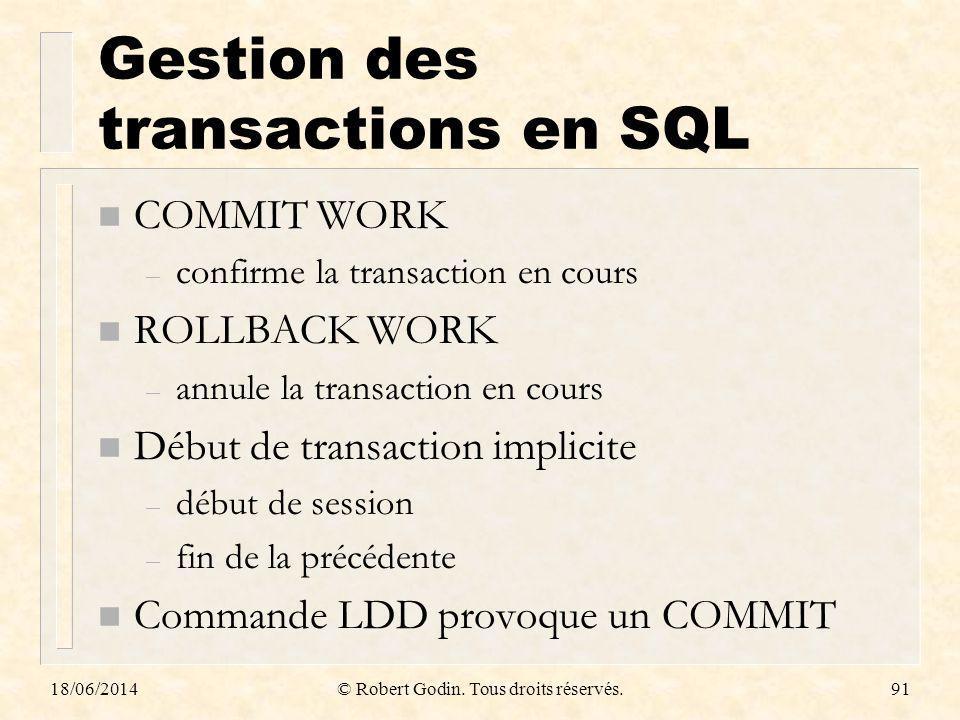 Gestion des transactions en SQL