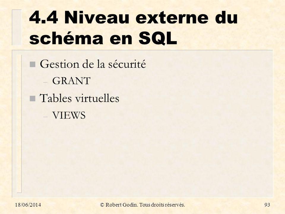 4.4 Niveau externe du schéma en SQL