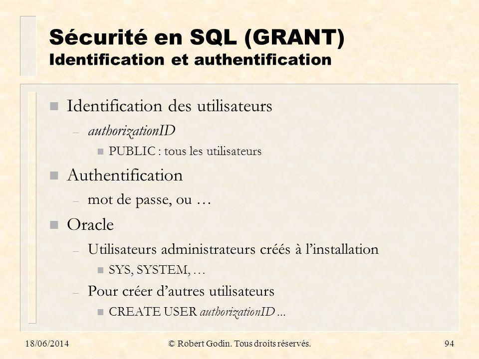Sécurité en SQL (GRANT) Identification et authentification