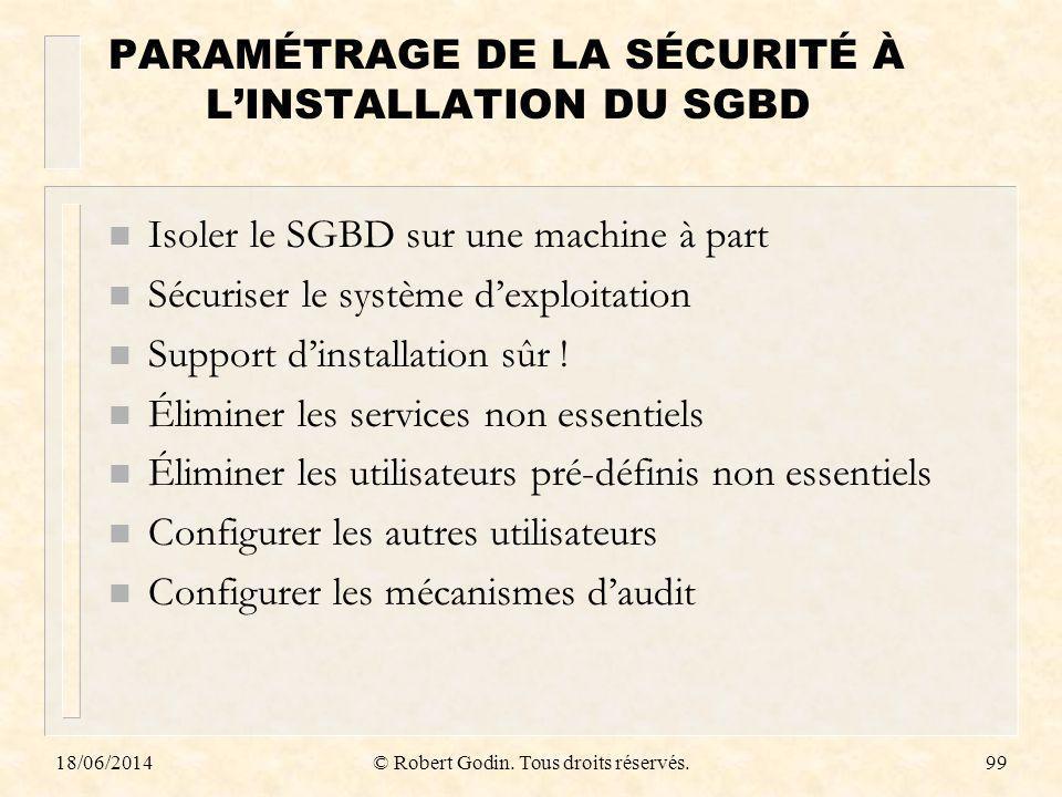 PARAMÉTRAGE DE LA SÉCURITÉ À L'INSTALLATION DU SGBD