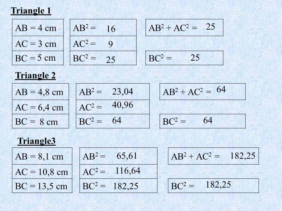 Triangle 1 AB = 4 cm. AB2 = AB2 + AC2 = AC = 3 cm. AC2 = BC = BC2 = 25. 16. 9. 5 cm. 25.