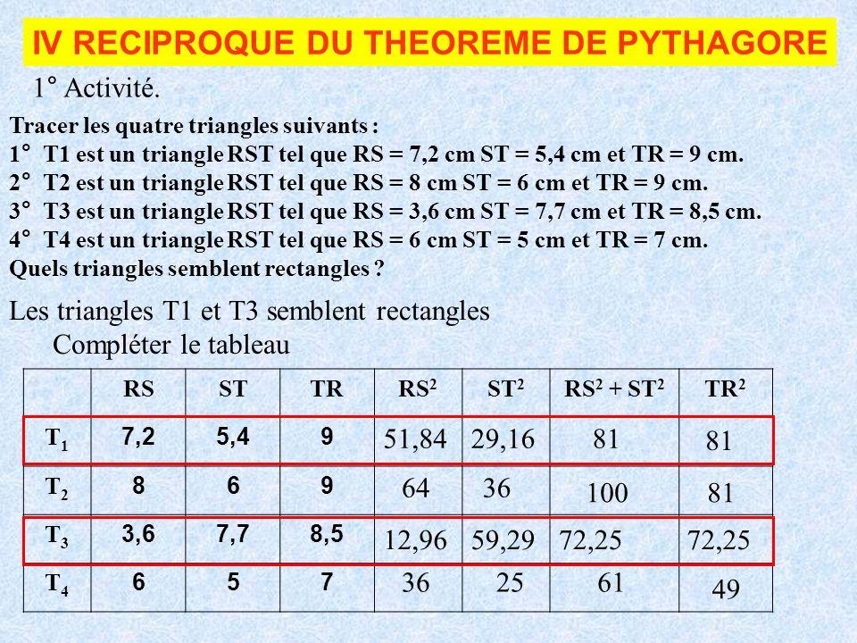 IV RECIPROQUE DU THEOREME DE PYTHAGORE