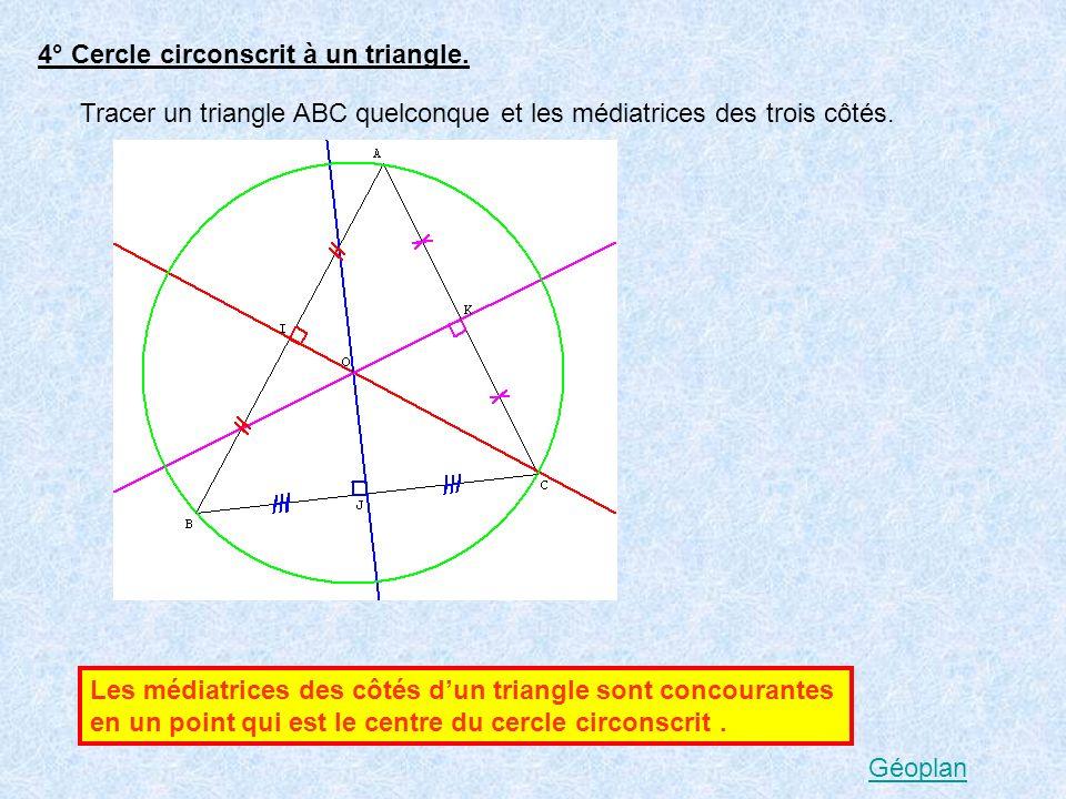 4° Cercle circonscrit à un triangle.