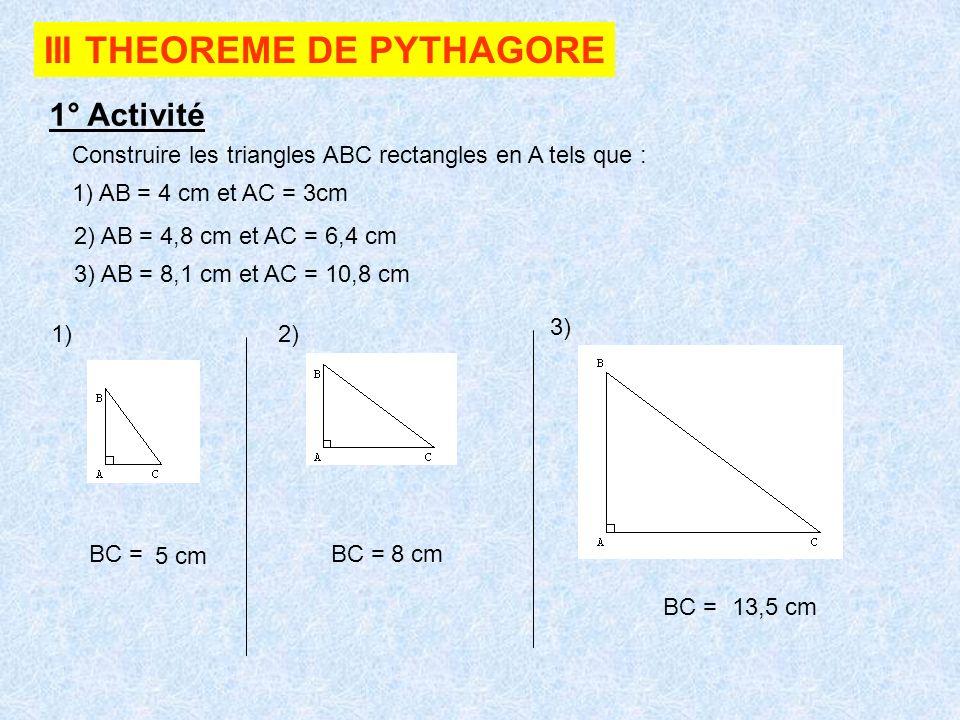 III THEOREME DE PYTHAGORE
