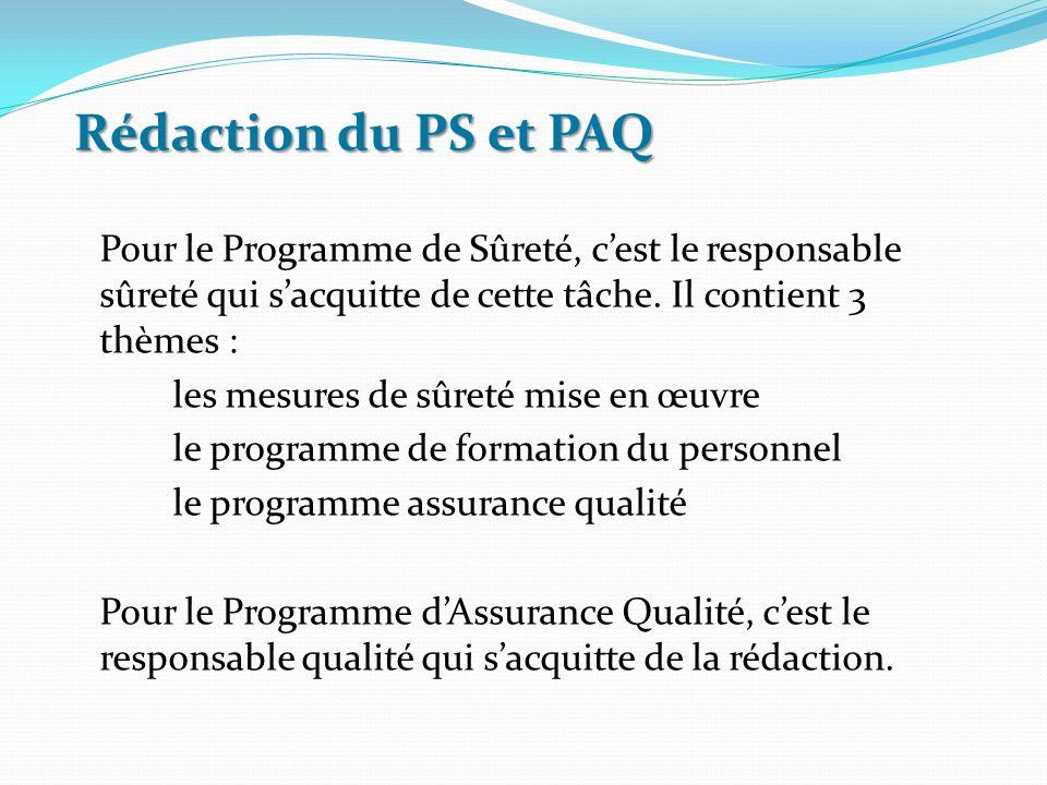 Rédaction du PS et PAQ Pour le Programme de Sûreté, c'est le responsable sûreté qui s'acquitte de cette tâche. Il contient 3 thèmes :
