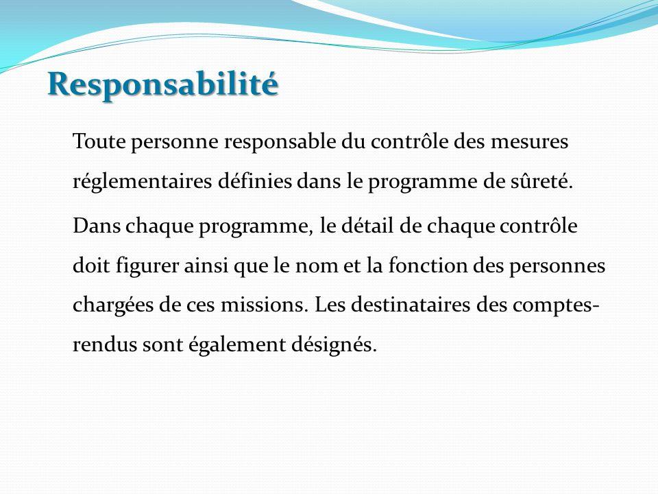 Responsabilité Toute personne responsable du contrôle des mesures réglementaires définies dans le programme de sûreté.