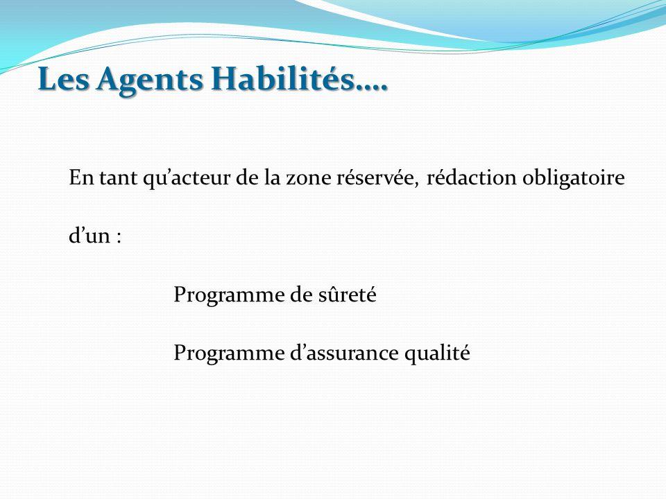 Les Agents Habilités…. En tant qu'acteur de la zone réservée, rédaction obligatoire. d'un : Programme de sûreté.