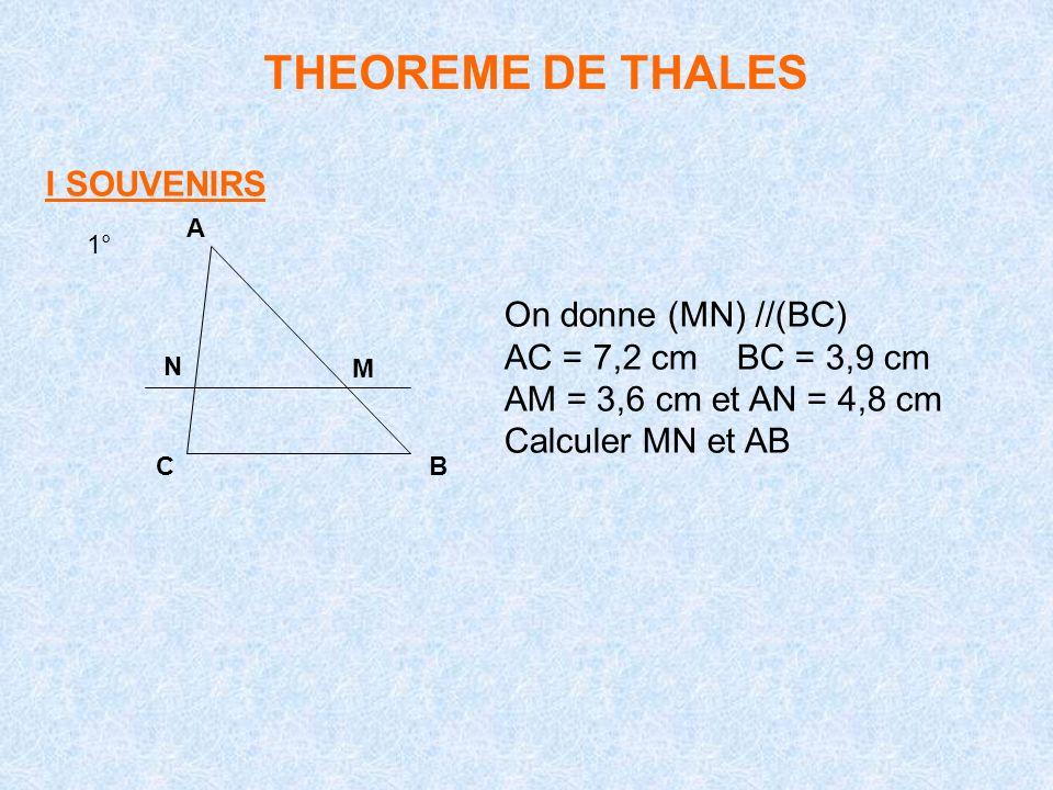 THEOREME DE THALES I SOUVENIRS On donne (MN) //(BC)