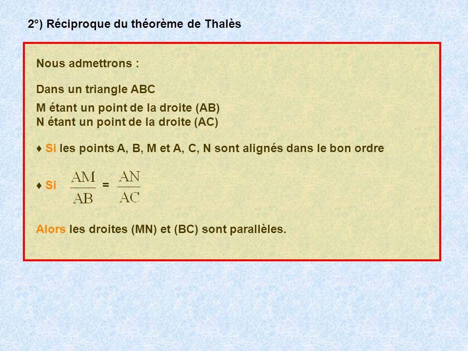 2°) Réciproque du théorème de Thalès
