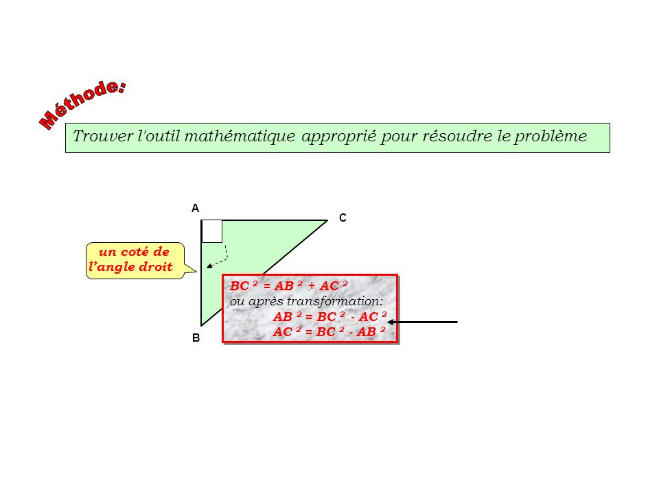 Trouver l outil mathématique approprié pour résoudre le problème