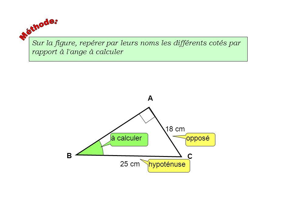 Méthode:Sur la figure, repérer par leurs noms les différents cotés par rapport à l ange à calculer.