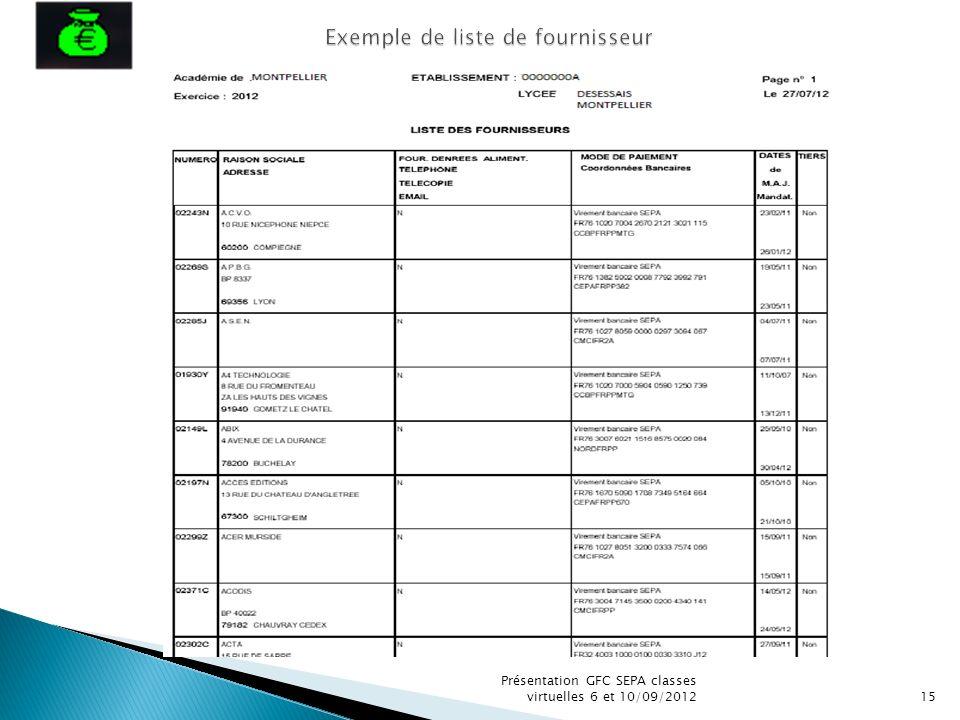 Exemple de liste de fournisseur