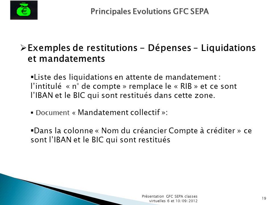 Exemples de restitutions - Dépenses – Liquidations et mandatements