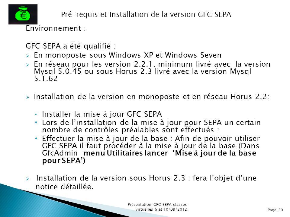 Pré-requis et Installation de la version GFC SEPA