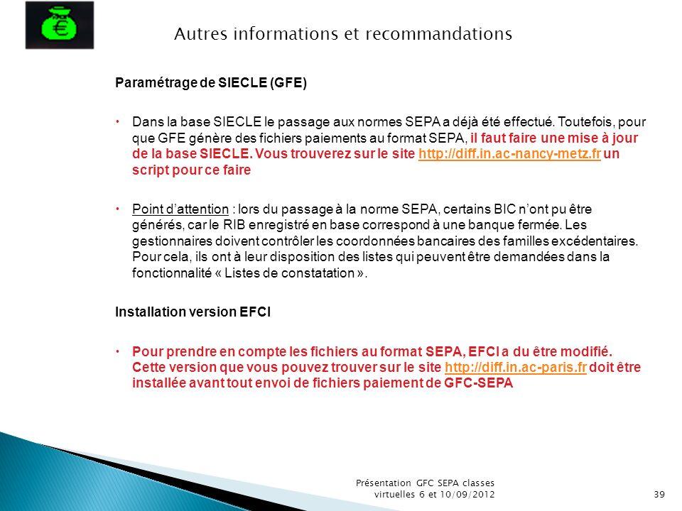 Autres informations et recommandations