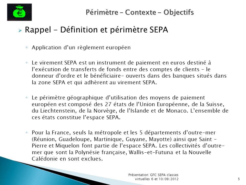 Rappel - Définition et périmètre SEPA