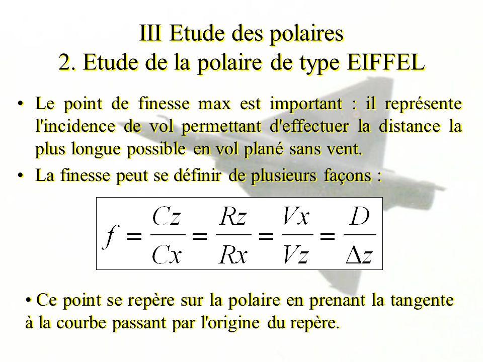 III Etude des polaires 2. Etude de la polaire de type EIFFEL