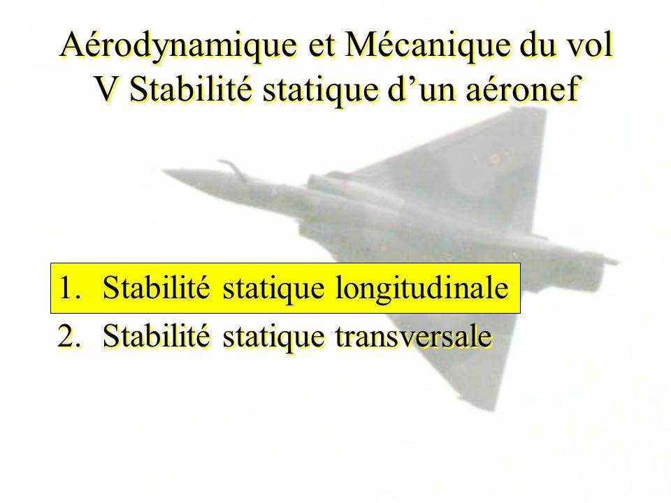Aérodynamique et Mécanique du vol V Stabilité statique d'un aéronef
