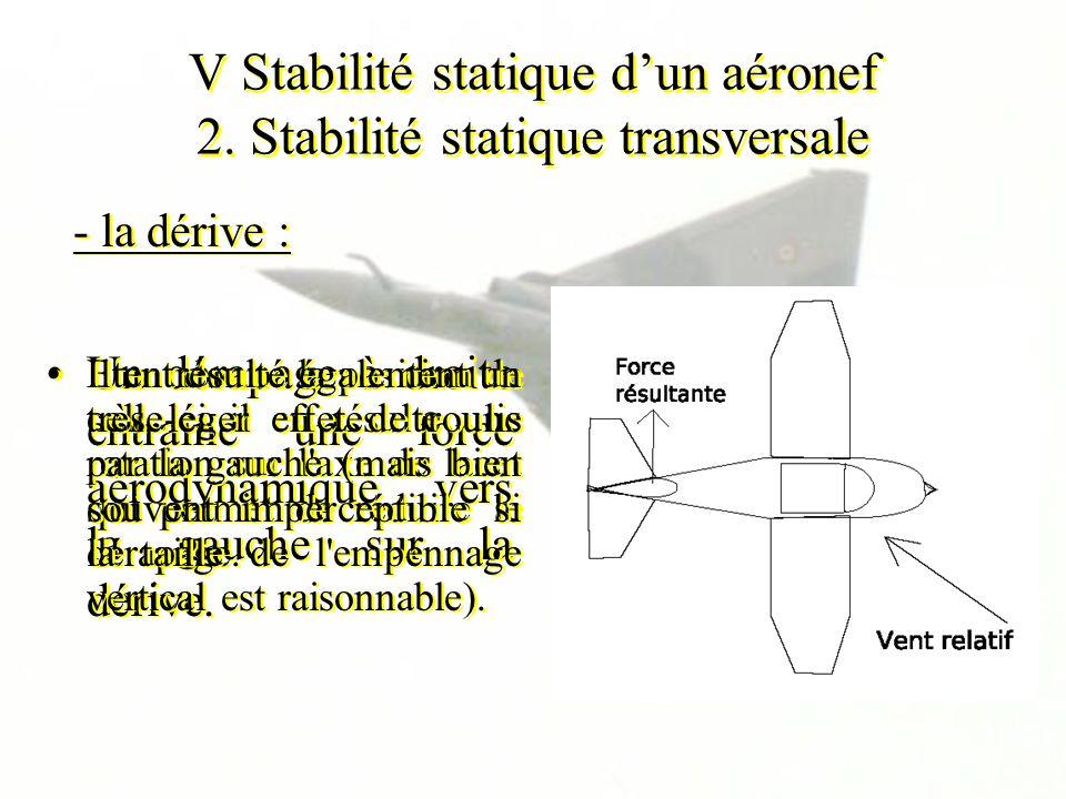 V Stabilité statique d'un aéronef 2. Stabilité statique transversale