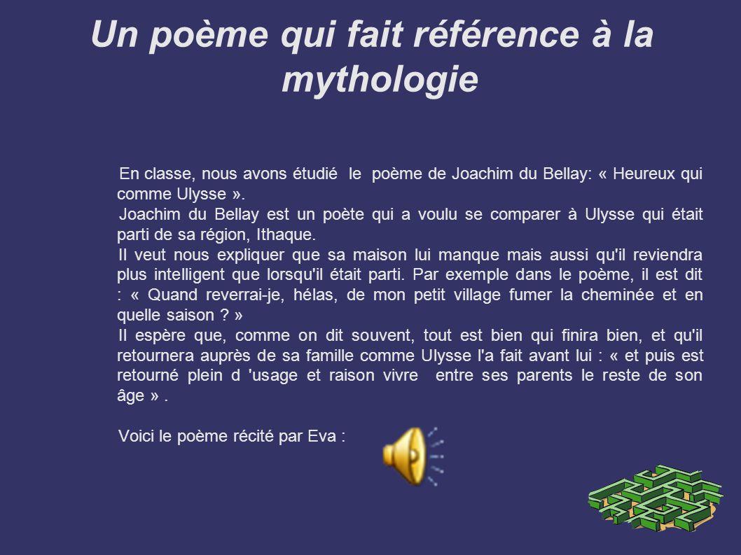 Un poème qui fait référence à la mythologie