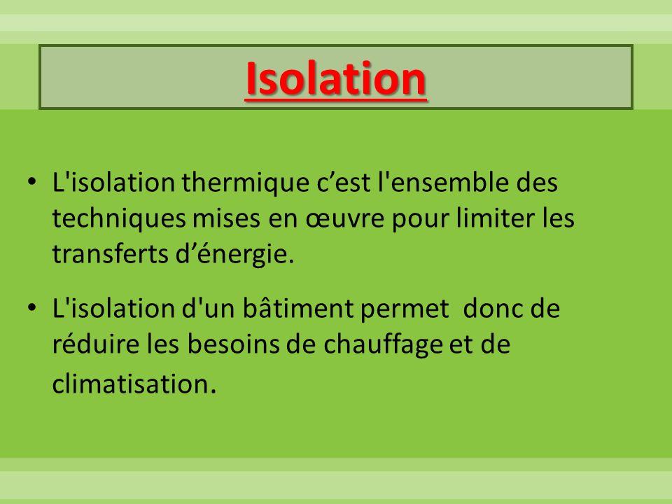Isolation L isolation thermique c'est l ensemble des techniques mises en œuvre pour limiter les transferts d'énergie.